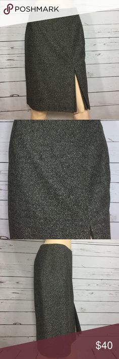 Ann Taylor Wool Pencil Skirt 2P Nwt Brown tweed wool skirt by Ann Taylor. Size 2 petite. Waist 28 inches, hips 34 inches, length 21 inches. New with tags's front slit Ann Taylor Skirts Pencil
