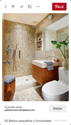Walk in shower ideas BHG. Stone mosaic tile on the shower's back wall draws your eye as soon as you enter the bathroom. Enclosed by glass, this small, but functional shower seems boundless. Bathroom Renos, Bathroom Renovations, Bathroom Ideas, Shower Ideas, Bathroom Designs, Master Bathroom, Compact Bathroom, Relaxing Bathroom, Shower Designs