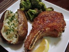 Baked Pork Chops with Parmesan-Sage Crust #porkchop