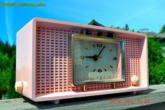 BLUETOOTH MP3 Ready - Big Pink Mid Century Retro Jetsons 1956 Sylvania Model R598-7509 Tube AM Clock Radio Totally Restored! by RetroRadioFarm on Etsy