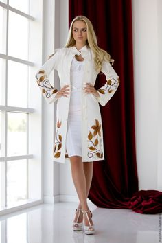 """Festive knitted coat """"Bindweed"""" milky color with a knitted scarf and decor! Winter Fashion Outfits, Boho Fashion, Casual Outfits, Fashion Dresses, Fashion Tips, Coats For Women, Clothes For Women, Knitted Coat, Beautiful Prom Dresses"""