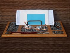 Hand Painted Wood Desk Organizer with Dots by CatheysCornerShop, $40.00