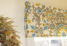 Turquoise, Grey & Yellow Window Curtain Valance with Ruffled Top Appleberry Attic http://smile.amazon.com/dp/B00WXSRTL0/ref=cm_sw_r_pi_dp_qEjMvb04B7FFD