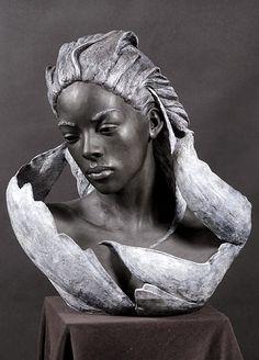 Bronze Sculptures, Portrait Sculpting by Philippe Faraut Portrait Sculpture, Art Sculpture, Pottery Sculpture, Stone Sculptures, Art Beauté, Art Pierre, Vanitas, Art Plastique, Black Art