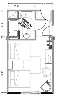 PLAN 2b: ACCESSIBLE 13 ft wide hotel room based on 2004 ADAAG.