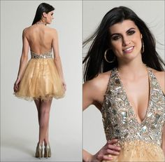 Golden Luxury Halter Neckline Backless Homecoming Dresses Short Beaded Tulle Sleeveless Crystals Mini A-line Cocktail Party Dress Gowns Hot from Marrysa,$97.07 | DHgate.com