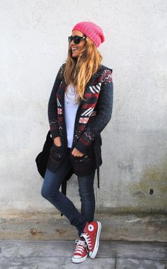 20 Ways to Wear Colored Converse - festive winter cardigan + red beanie and matching high top Converse sneakers