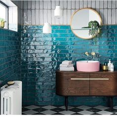 Looking for tile inspiration to redecorate bathrooms and kitchens? Topps Tiles h… Looking for tile inspiration to redecorate bathrooms and kitchens? Topps Tiles have just revealed the vibrant Lampus Peacock as 'Tile of the Year Salon Interior Design, Bathroom Interior Design, Interior Design Living Room, Interior Doors, Interior Paint, Modern Small Bathroom Design, Mid Century Modern Bathroom, Bathroom Modern, Minimalist Bathroom