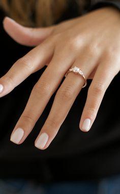 Jul 2019 - 3 stone diamond engagement ring set in rose gold Wedding Day Nails, Wedding Nails Design, Wedding Nails For Bride Natural, Wedding Manicure, Simple Wedding Nails, Cake Wedding, Wedding Bands, Weding Nails, Wedding Nail Colors