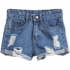 SheIn(sheinside) Blue Pockets Ripped Flange Denim Shorts (€16) ❤ liked on Polyvore featuring shorts, bottoms, pants, sheinside, blue, denim shorts, destroyed shorts, jean shorts, distressed jean shorts and blue shorts