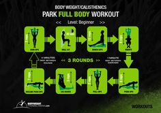 Beginner - Park Full Body Workout | bodyweighttrainingarena.com #workouts #calisthenics