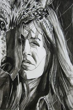 """La Lupa - Charcoal - X - Fell in love with Giovanni Verga's short story """"The She-Wolf"""" which led to this drawing. She Wolf, Exhibition, Short Stories, Gallery, Drawings, Illustration, Artist, Charcoal, Canada"""