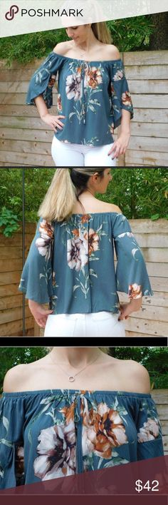 NWT Teal Off shoulder floral top This is a beautiful and elegant flowy off the shoulder top! Fits true to size I am wearing small in my own modeling pic 100% rayon Perfect for spring and summer! Make an offer! Timing Tops Blouses