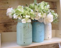 Painted Mason Jars.  Beach House. French Country. by CindiZsThings, $16.50