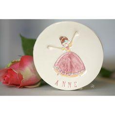 Princess Ceramic Plate Personalized Ceramic Dish Custom Ceramic Flower... (€17) ❤ liked on Polyvore featuring home, kitchen & dining, serveware, pink plates, pottery dishes, ceramic dishes, round plate and ceramic serveware