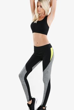 'Kingpin' Color Block Leggings - Bowl everyone away in these amazing melange color block pants and and drop a kingpin move in the house. In a unique geometric blocking of black and grey throughout the legs and a contrast white on the outer thigh, these pants will always be in the pocket! So get a six pack on your abs and in the bowling alley - its a win win situation. Available in Black/Grey/Lime. 87% Nylon and 13% Spandex.