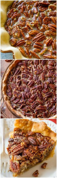 Classic and simple with a dash of cinnamon, melted butter, and vanilla. This is my favorite pecan pie! Recipe on sallysbakingaddiction.com