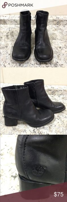 """🌴NEW LISTING🌴 Timberland Leather Ankle Boots Black. Genuine leather upper. Leather and fabric lining. Shaft 5"""". Size 8M. (2/20) Timberland Shoes Combat & Moto Boots"""