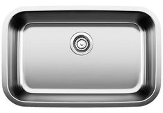 Blanco America Stellar™ 28 x 18 in. No Hole Single Bowl Undermount Kitchen Sink in Stainless Steel Refined Brushed - 441529 Steel Kitchen Sink, Single Bowl Kitchen Sink, Stainless Steel Kitchen, Brushed Stainless Steel, Kitchen Sinks, Undermount Stainless Steel Sink, Undermount Bathroom Sink, Ada Sink, Wicker Storage Trunk