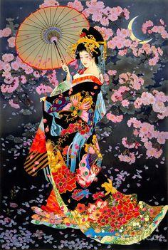 Yozakura Digital Art by Haruyo Morita