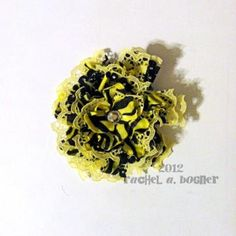 YELLOW and BLACK ZEBRA hair clip  Flower. Ribbon. Lace. Barrette. Rhinestone