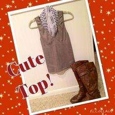 🎉Great stretch top for business or casual!🎉 This top has a lot of spandex material, so it's very comfy! Dress it up with a scarf (shown but not for sale) or under a work blazer! The scarf and boots are just for styling. Not for sale. Lovely top and needs and new home! :) Tops