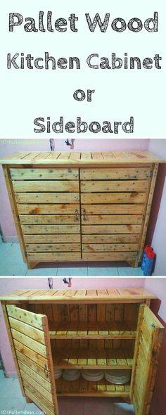 Pallet Kitchen #Cabinet / #Sideboard - 101 Pallet Ideas: