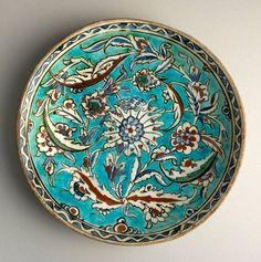"Turkey/ İznik / Bowl / Date: second half 16th century / Earthenware / Dimensions 2.09"" (5.3cm) high x 11.42"" (29.0cm) wide / The Barakat Collection  Hatai Style"