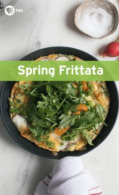 Dig into this spring frittata for Mother's Day! Radishes, chives and arugula accompany this flavorful brunch recipe.