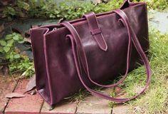 Handmade vintage modern leather big tote bag shoulder bag handbag for | EverHandmade