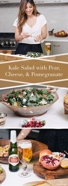 Chef Aliya LeeKong's crisp summer salad is perfect for your next outdoor picnic. Her Massaged Kale Salad with Pear, Fresh Cheese, and Pomegranate Vinaigrette features local kale, freshly squeezed lemon juice, extra-virgin olive oil, Bartlett pear, crumbled goat cheese and pomegranate arils for garnish. Dress the salad lightly with a pomegranate vinaigrette and serve buffet style with a Stella Artois for a casual outdoor event.
