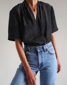Vintage polka dot double breasted drape collar blouse