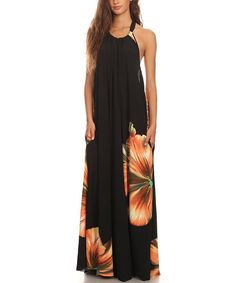 Look at this Karen T. Design Black Floral Halter Maxi Dress on #zulily today!