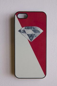 BlissfulCASE 3D Space Diamond On Red Color Block iPhone 5 Case