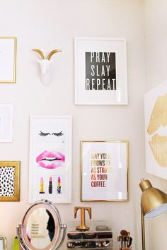 Pray, Slay, Repeat Wall Art, May Your Eyebrows Wall Art, Lezlee Elliot