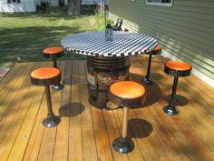 Homemade H-D inspired table. Harley-Davidson of Long Branch www.hdlongbranch.com