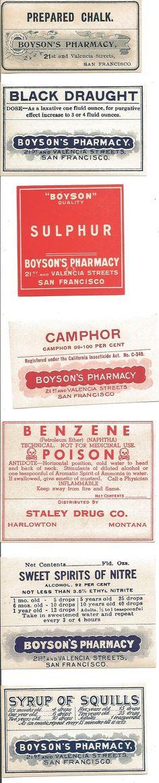 Old pharmacy bottle labels.