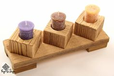 Handcrafted reclaimed wood set of candle holder with pad Modern Candle Holders, Wood Candle Holders, Handmade Candles, Handmade Wooden, Woodworking Candle Holder, Tea Light Candles, Tea Lights, Bois Diy, Wood Plans