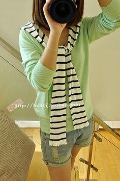 Hellojj 2012秋新款女装 韩国条纹披肩针织衫-淘宝网