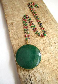 Huge Emerald Necklace 24K Gold Vermeil Bezel Set Pendant Ruby Sapphire Emerald Gemstone Chain. $168.00, via Etsy.