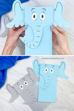 If your child loves Dr. Seuss and you want an easy activity for read across America day, this Horton hears a who paper bag puppet is perfect. Download the free printable template and make with the kids at home or in the classroom. Printable Crafts, Free Printable, Horton Hears A Who, Paper Bag Puppets, Puppets For Kids, Puppet Crafts, Craft Free, Crafty Kids, Easy Crafts For Kids