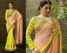 Look Beautiful on any Occasion in light Pink & Bright Yellow Crepe Saree with Heavy Silk Blouse and Santoon Inner. Thread, Jari & Stone Work With Heavy Lace On Border.