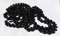 1920s Glass Beaded Necklace, 60 Inches Long, Matte Black, Hand Knotted Beads, Mourning Necklace, Vintage Necklace, Vintage Jewelry (5kbx)