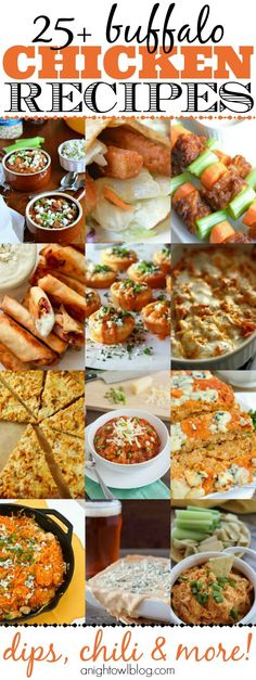 Do you LOVE buffalo chicken? Then you're going to love - and want to try - some of these amazing Buffalo Chicken Recipes we've found! Buffalo Recipe, Buffalo Chicken Recipes, I Love Food, Good Food, Yummy Food, Tasty, Appetizer Recipes, Dinner Recipes, Appetizers Superbowl