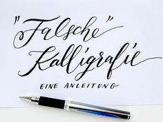 """Falsche Kalligraphie bzw. """"fake calligraphy"""" ist eine gute Möglichkeit, mit der Wirkung von Kalligraphie zu experimentieren, wenn man die Technik mit Feder und Tusche noch nicht beherrscht oder auf…"""