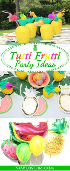 Tutti Frutti Party Ideas and decorations for the Juiciest Party of the Summer!!  If you are planning a Tropical Party or a Hawaiian Luau then check out all the Fruit decorations and supplies we have!
