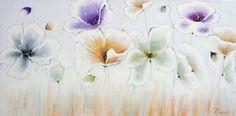 schilderij bloemen 70x140