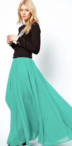 Teal Skirt full length maxi skirt from Mode-sty