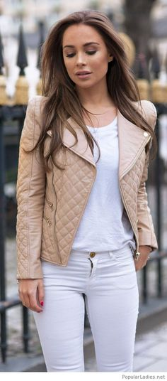 White jeans and top with nude jacket