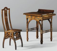 EUGENIO QUARTI (son-in-law to CARLO BUGATTI), desk and chair, c. 1898, each signed  |  SOLD 36,750 EUR Sotheby's, Paris, Feb. 16, 2013